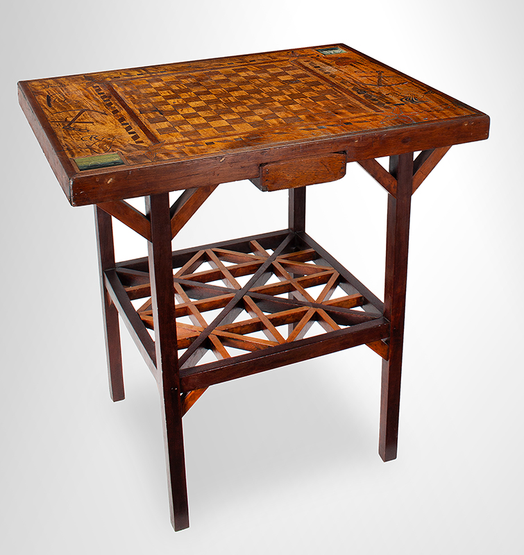 Antique Gameboard Table, Possibly Sailor Made Anonymous Maker, Purportedly Nantucket, 19th Century Curly maple, walnut, mixed woods, entire view 1