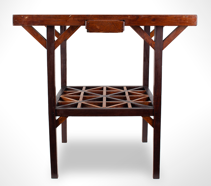 Antique Gameboard Table, Possibly Sailor Made Anonymous Maker, Purportedly Nantucket, 19th Century Curly maple, walnut, mixed woods, entire view 3