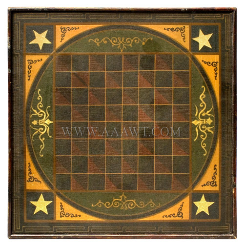Game Board, Original Paint, Outstanding Imagery, Applied Incised Moldings  American, Unknown Maker , Circa 1880