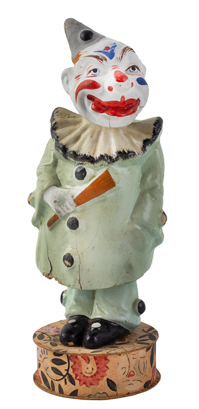 "7.5"" German Double Nodder clown Candy Container, entire view"
