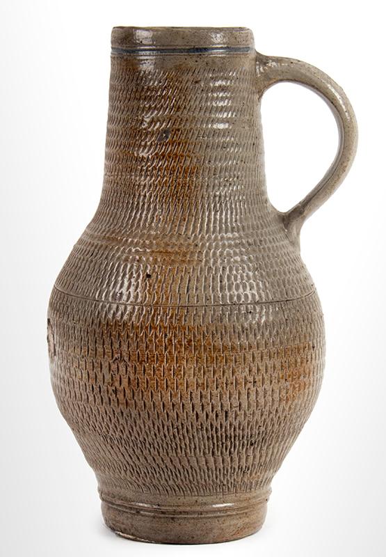 Salt Glazed Handled Jug, Bembel, Jug,Westerwald, Hohr, Grenzhausen, Bembel Circa 1800-1840, entire view