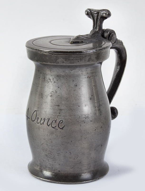 """Antique Pewter, Gill Measure, Double Volute, Baluster Bearing the mark of William Fasson, 1758-1800 (H: 4""""), entire view"""