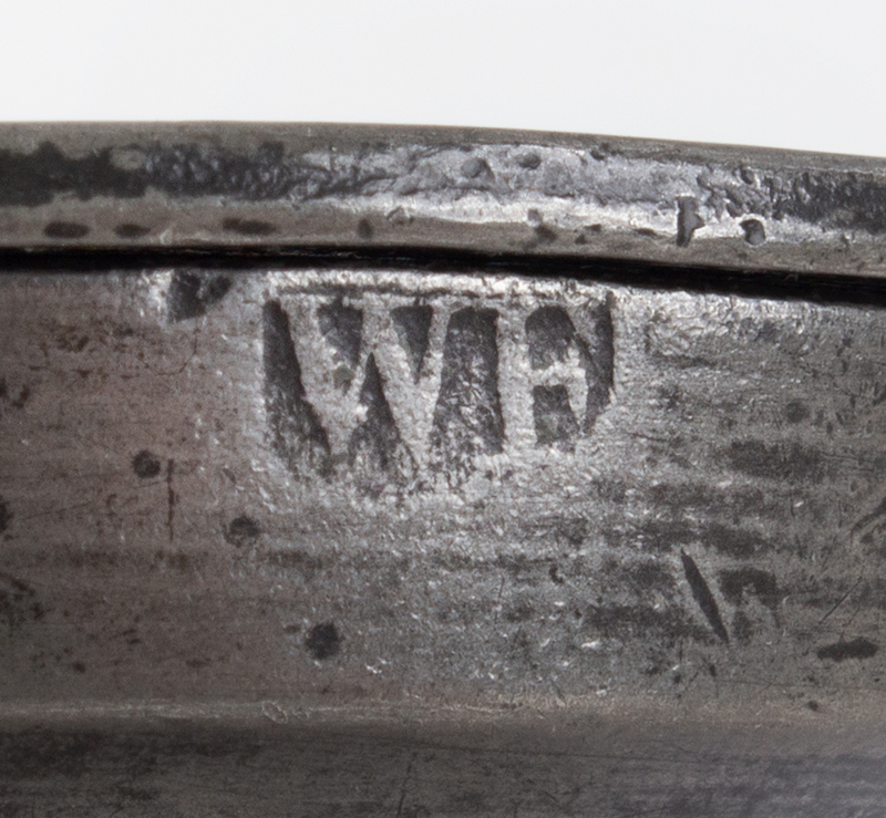"""Antique Pewter, Gill Measure, Double Volute, Baluster Bearing the mark of William Fasson, 1758-1800 (H: 4""""), mark view"""