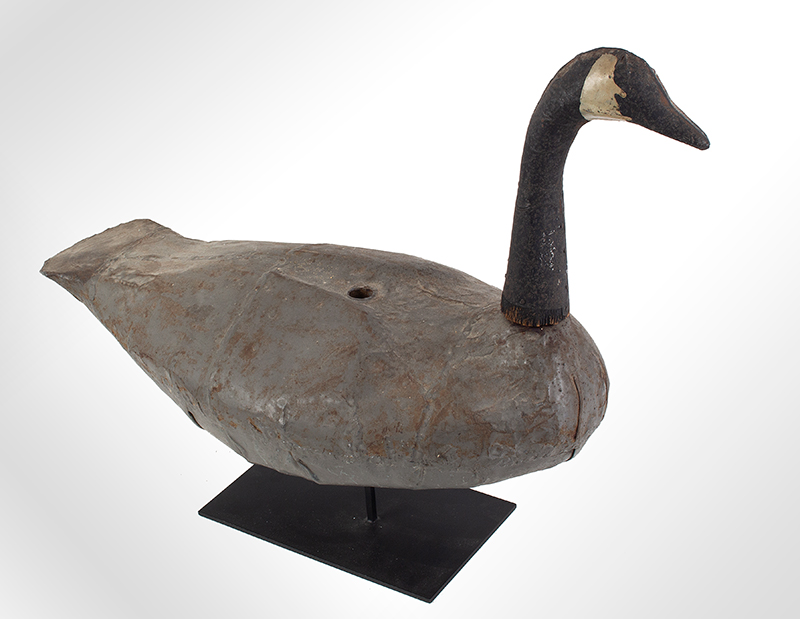 Vintage Canada Goose Working Decoy, Sheet Iron Unknown Maker, Likely 1930ish, entire view 2