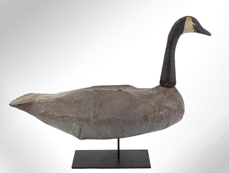 Vintage Canada Goose Working Decoy, Sheet Iron Unknown Maker, Likely 1930ish, entire view 3