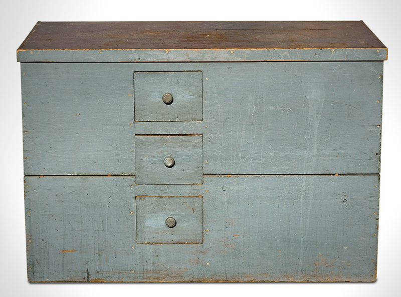 Antique Lift-Top Grain Bin with Drawers, Original Blue/Gray Paint, Dry Patina New York, Circa 1860 Poplar and white pine, entire view