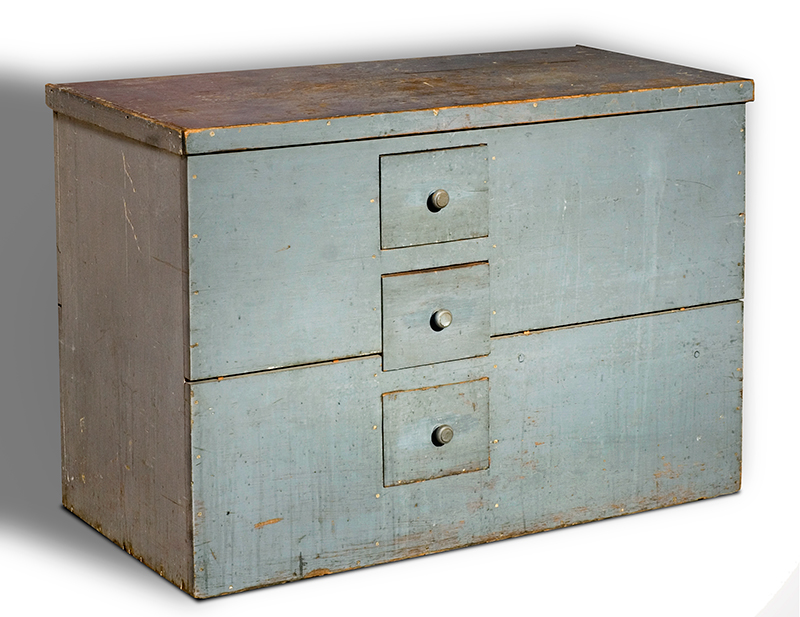Antique Lift-Top Grain Bin with Drawers, Original Blue/Gray Paint, Dry Patina New York, Circa 1860 Poplar and white pine, angle view