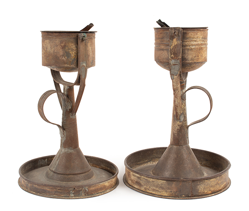 Antique Lighting, Near Pair of Standing Fat Lamps, Grease Lamps, Trunnion Likely American, Circa 1775-1830, entire view