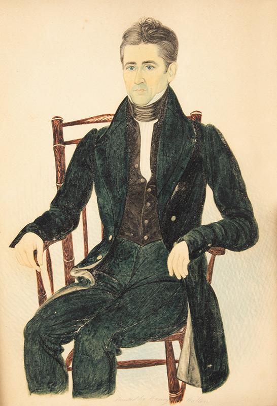 Henry Walton, Watercolor Portrait of Cornelius Post, aged 51, Man Seated New York, sans frame