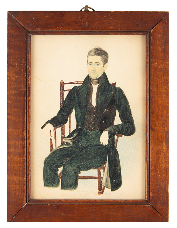 Henry Walton, Watercolor Portrait of Cornelius Post, aged 51, Man Seated New York, entire view