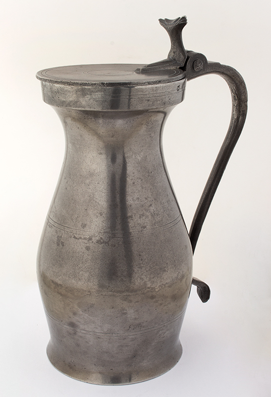 Antique, Massachusetts Pewter Measure, Half Gallon Stamped CM for Commonwealth of Massachusetts 1750 to 1780, entire view