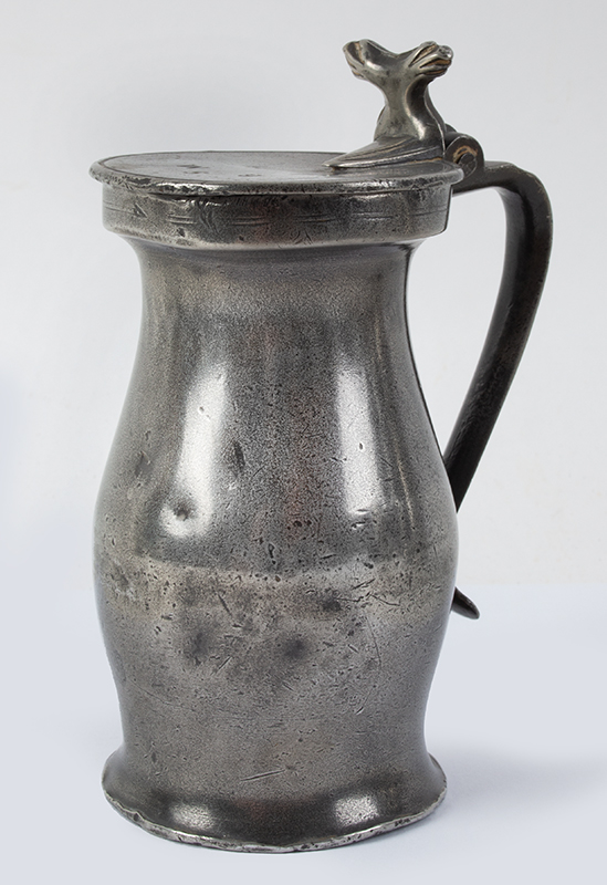 Antique Pewter Half Pint Bud Baluster Measure Unknown Maker, English, Mid-17th Century, entire view