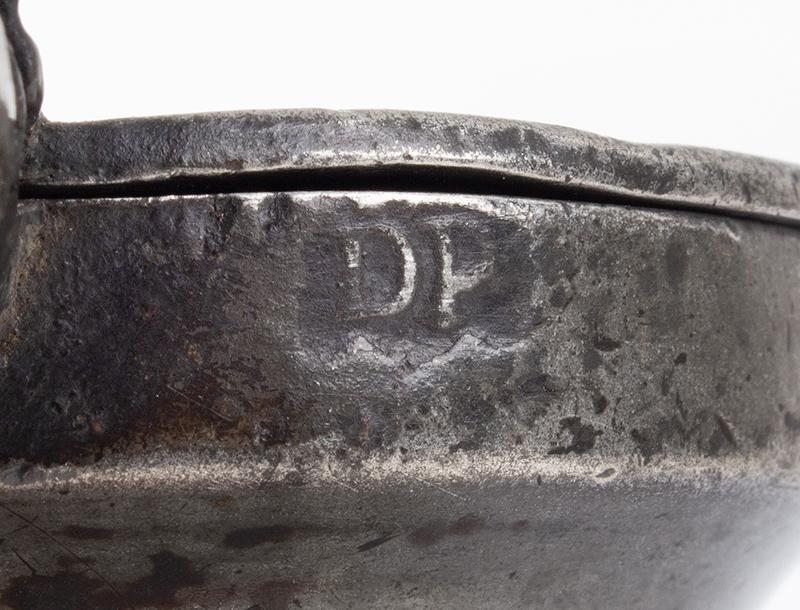 """Antique Pewter Half Pint Bud Baluster Measure Marked """"DP"""", probably Daniel Parker (1678-1739), mark detail"""