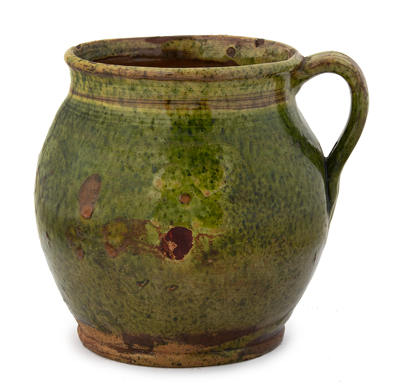 Antique, Redware Ovoid Jug, Copper Oxide Green Glaze Likely French, 1858 Very bulbous, flared rim, a heart centers the date 1858, entire view 1