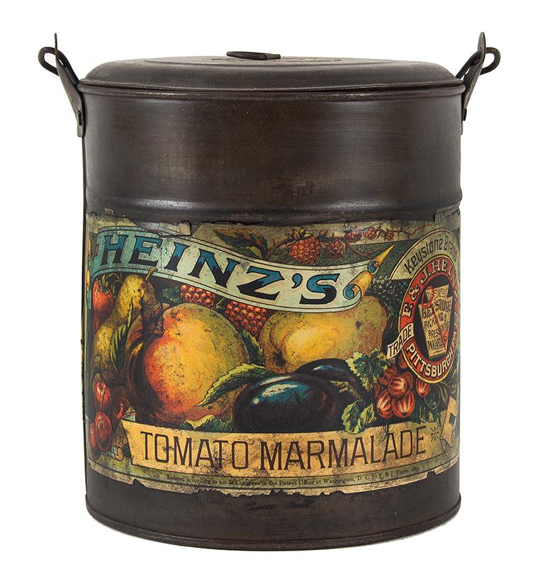 Vintage, Rare Heinze Tomato Marmalade Lidded Tin, Original Label, Bale Handle, entire view