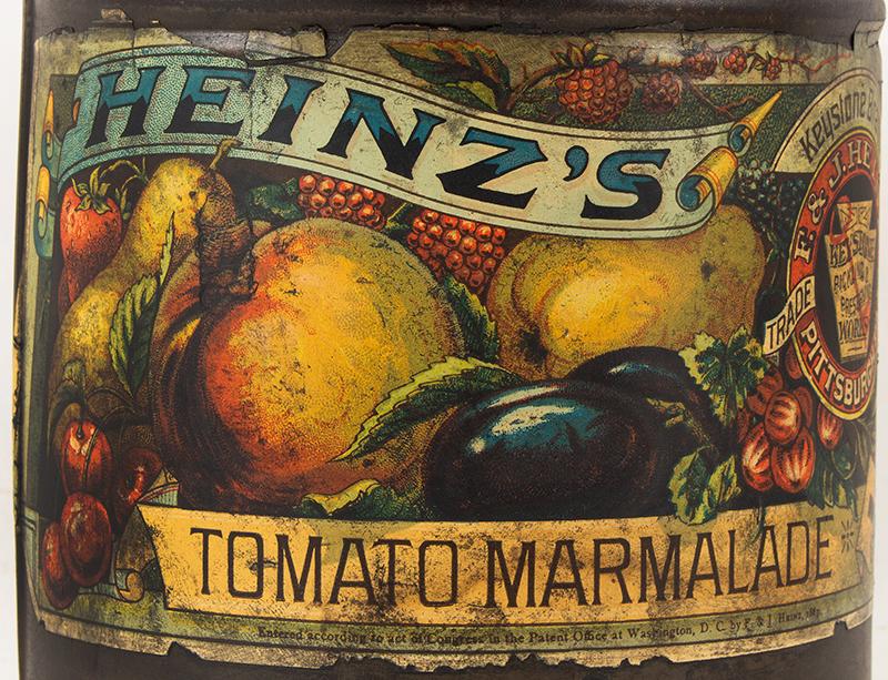 Vintage, Rare Heinze Tomato Marmalade Lidded Tin, Original Label, Bale Handle, label view
