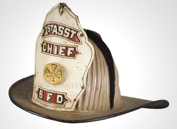 Fire Helmet, 1st Asst Chief, BFD, High Eagle  Paint over Black Leather, entire view