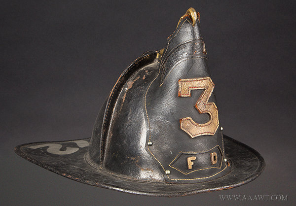 Antique Fire Helmet, Leather, Brass High Eagle, Shield, Tooled Brim, Painted 1872  Unknown Maker, entire view