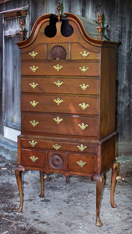 18th Century Carved Bonnet Top Highboy Connecticut, Circa 1765-1780 Cherry, period brasses in original piercings, entire view