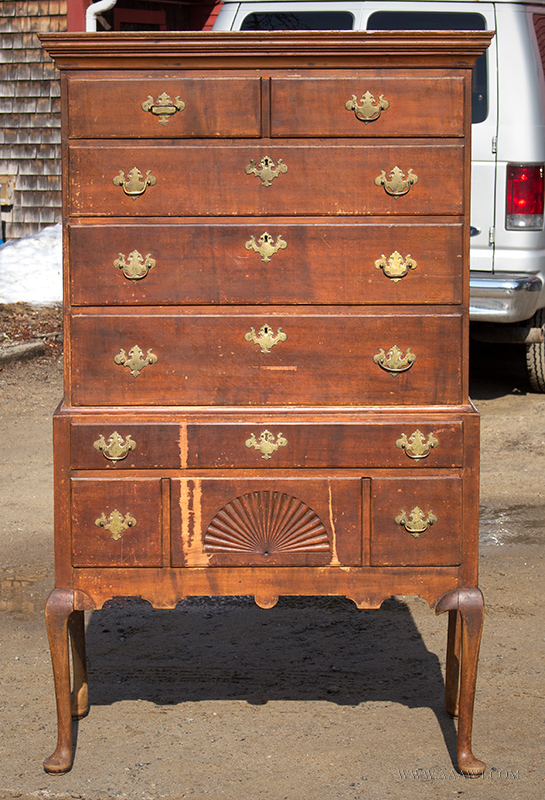 Fan-Carved Highboy, Flat Top High Chest, Original as Found Condition, Surface & Brasses Too,  New Hampshire, Circa 1750 – 1780, entire view