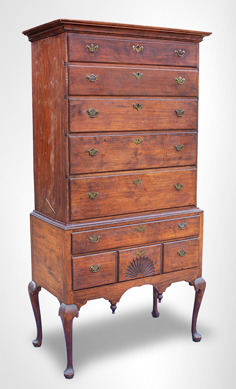 Antique Highboy, Massachusetts, Time Capsule Condition, angle view 2
