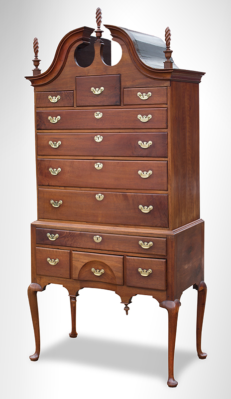 Queen Anne Walnut Bonnet-top Highboy, Boston, Circa 1740 – 1770, Original Brasses, entire view
