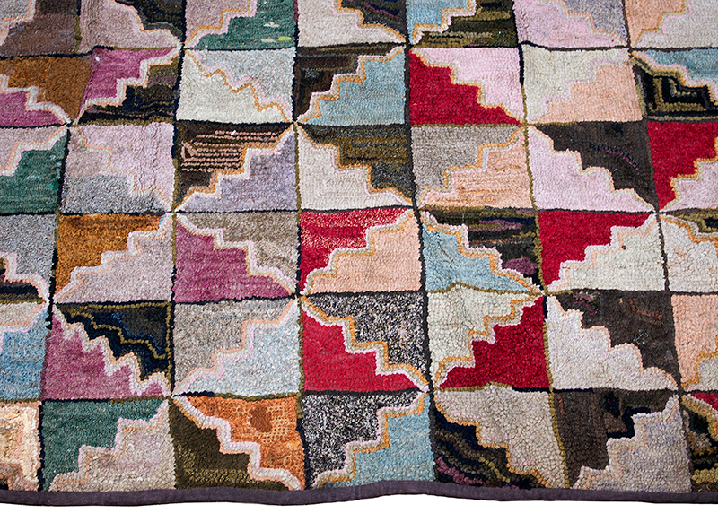 Antique Hooked Rug, A Lively Geometric Quilt Pattern Unknown Maker, circa 1880-1920?  Wool on burlap, detail view