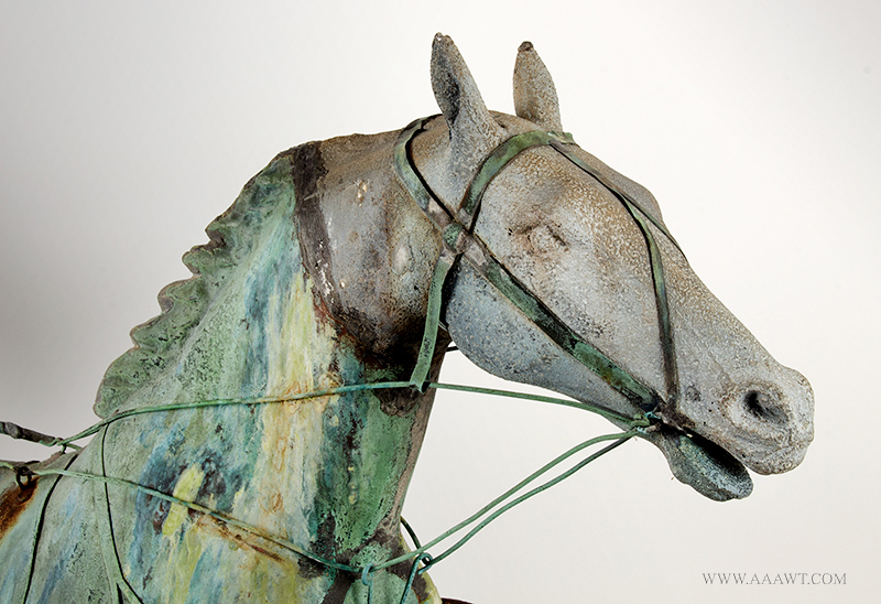 Weathervane, Fiske, Horse, Sulky & Driver, C. 1865-1870, Untouched Original Condition Outstanding Surface, 45-Inches, J.W. Fiske, New York, late 19th century Displaying encyclopedic surface, verdigris and mustard sizing, beautiful patina, horse detail view