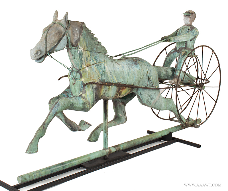Weathervane, Fiske, Horse, Sulky & Driver, C. 1865-1870, Untouched Original Condition Outstanding Surface, 45-Inches, J.W. Fiske, New York, late 19th century Displaying encyclopedic surface, verdigris and mustard sizing, beautiful patina, entire view 2