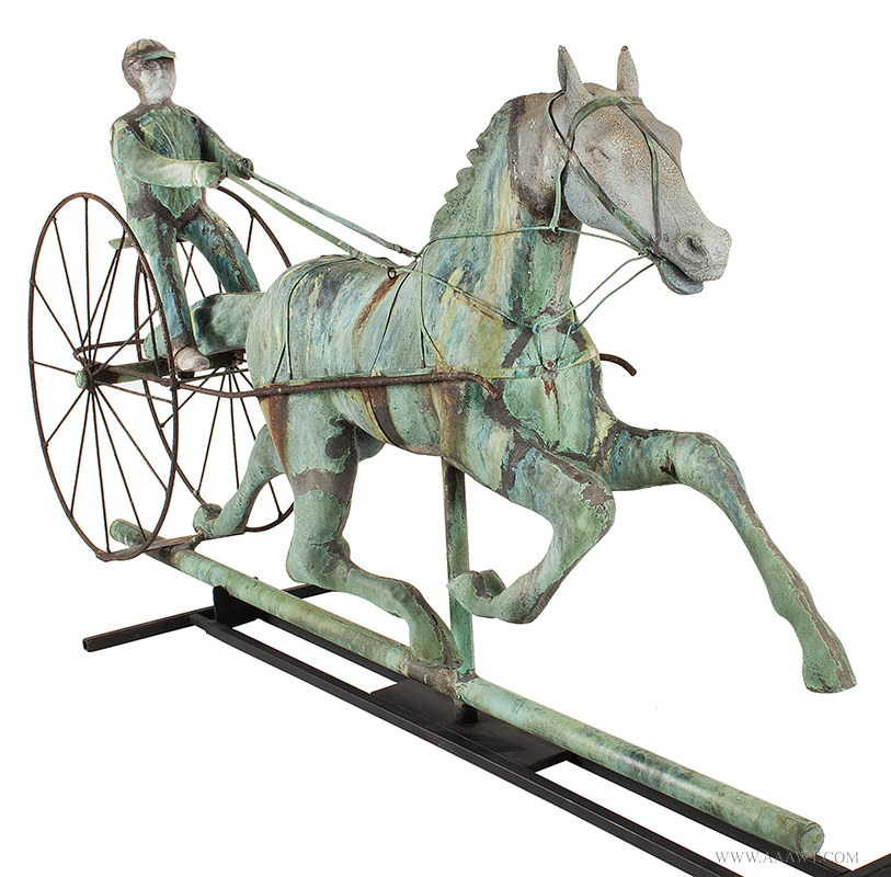 Weathervane, Fiske, Horse, Sulky & Driver, C. 1865-1870, Untouched Original Condition Outstanding Surface, 45-Inches, J.W. Fiske, New York, late 19th century Displaying encyclopedic surface, verdigris and mustard sizing, beautiful patina, entire view 3