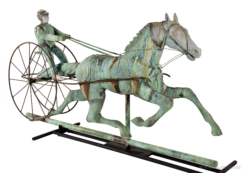 Weathervane, Fiske, Horse, Sulky & Driver, C. 1865-1870, Untouched Original Condition Outstanding Surface, 45-Inches, J.W. Fiske, New York, late 19th century Displaying encyclopedic surface, verdigris and mustard sizing, beautiful patina, entire view 4
