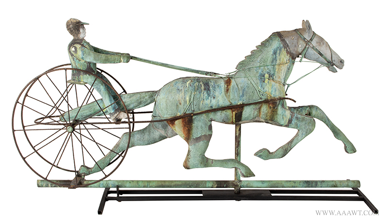 Weathervane, Fiske, Horse, Sulky & Driver, C. 1865-1870, Untouched Original Condition Outstanding Surface, 45-Inches, J.W. Fiske, New York, late 19th century Displaying encyclopedic surface, verdigris and mustard sizing, beautiful patina, entire view 5