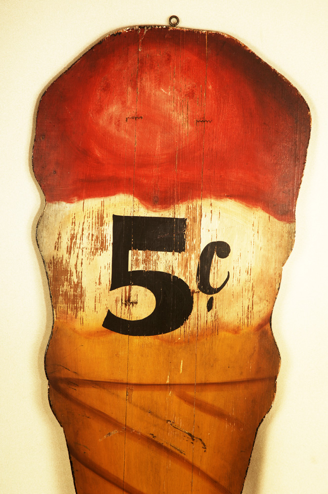"Vintage Ice Cream Trade Sign, 5 Cent Cone, Original Paint Unknown Maker, Early 20th Century (51 by 18"") Two-Side cutout ice cream double dip cone in narrow base, detail view"