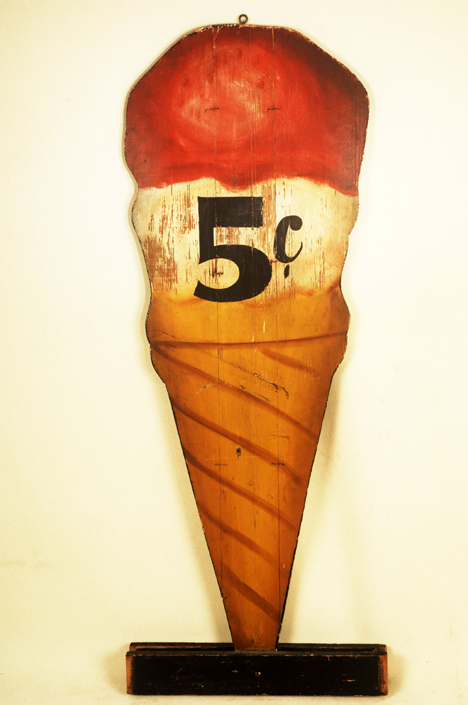 "Vintage Ice Cream Trade Sign, 5 Cent Cone, Original Paint Unknown Maker, Early 20th Century (51 by 18"") Two-Side cutout ice cream double dip cone in narrow base, entire view"