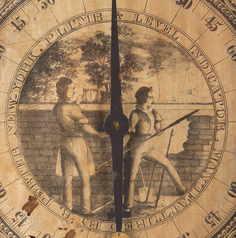 Inclinometer, Plumb and Level Indicator, Rufus Porter, Circa 1847, Rare Type I PLUMB AND LEVEL INDICATOR MANUFACTURED BY R. PORTER NEW YORK, Detailed View