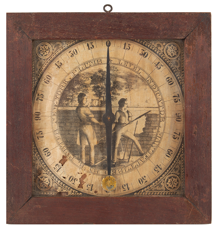 Inclinometer, Plumb and Level Indicator, Rufus Porter, Circa 1847, Rare Type I PLUMB AND LEVEL INDICATOR MANUFACTURED BY R. PORTER NEW YORK, Full View