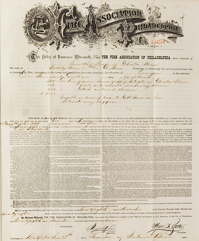 Fire Association of Philadelphia Insurance Policy 1878, entire view sans frame