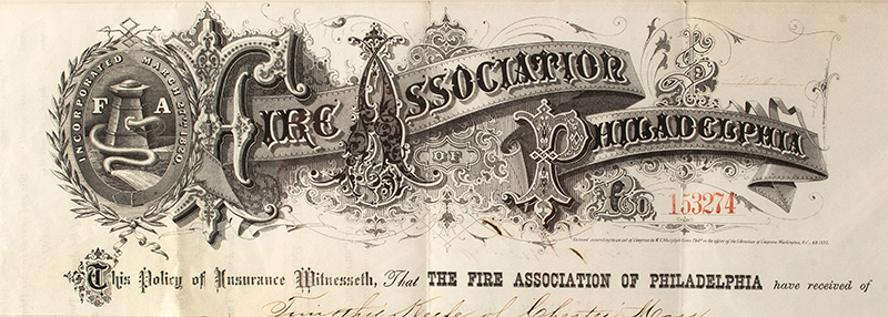 Fire Association of Philadelphia Insurance Policy 1878, detail view