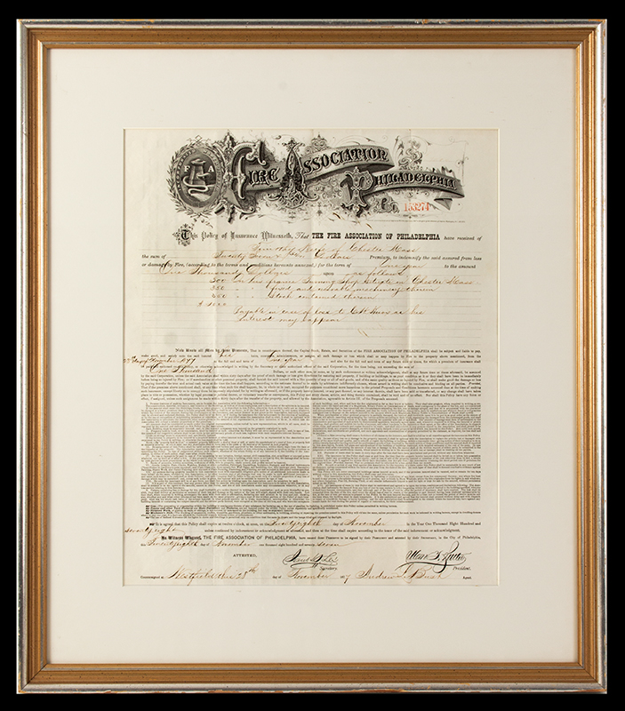 Fire Association of Philadelphia Insurance Policy 1878, entire view