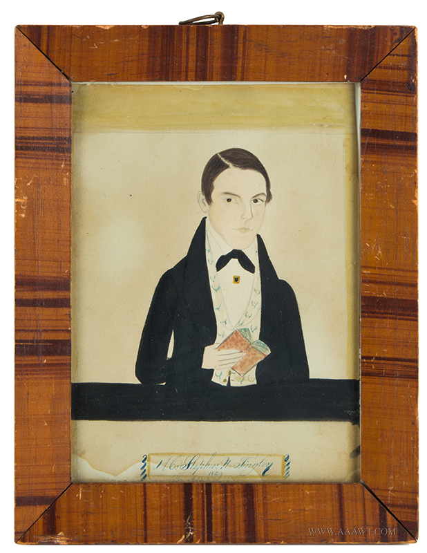 Period Folk Art Portrait, Signed J.A. Davis, Watercolor, Man Holding Book Mr. Stephen N. Tingley 1839, Signed 'By J.A. Davis' Along the Lower Edge, entire view
