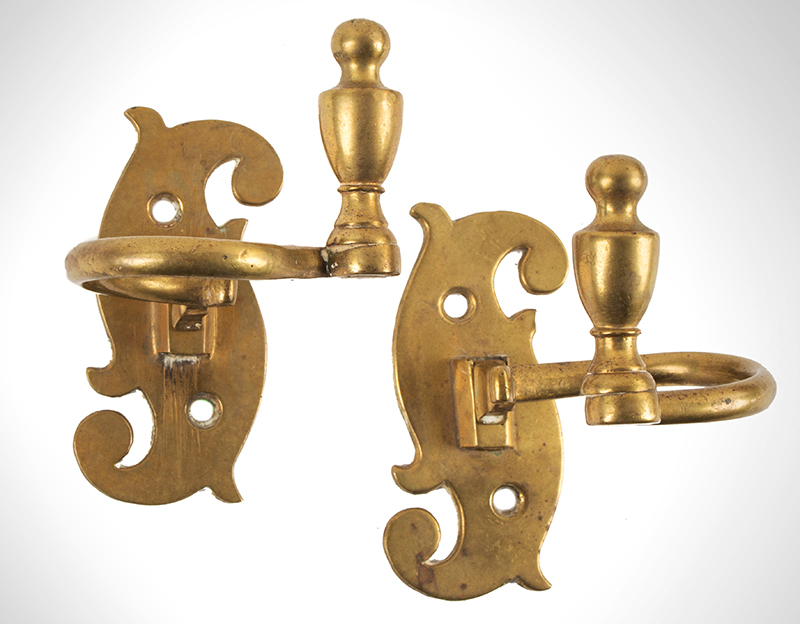 Jamb Hook, Pair, Brass Scroll & Urn,Fireplace Accessories American or English, circa 1780-1800