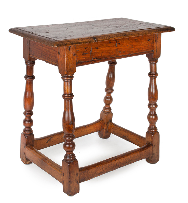 Period Joint Stool, Joined Table, William & Mary, American, Block & Turned Legs Mid-Atlantic, circa 1700-1740 The tall proportions suggest that it may have been intended as a small table/stand, entire view 1