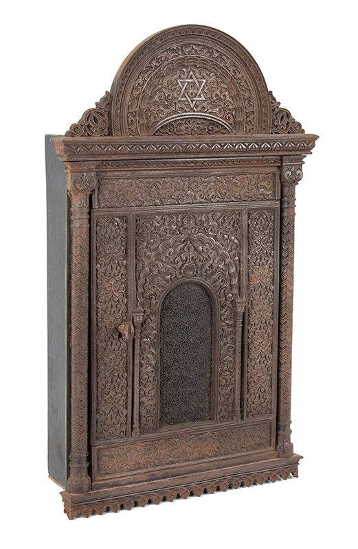 Antique Judaica, Cast Iron & Wood Key Cabinet, Star of David, Arabesque Unknown Maker, 19th Century The reverse with original wall-hanging device, entire view