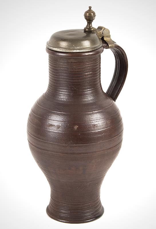 Antique  Stoneware, Brown, Salt Glazed Jug, Pewter Mounted Dreihausen, Germany, circa 1750 view 1