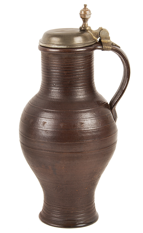 Antique  Stoneware, Brown, Salt Glazed Jug, Pewter Mounted Dreihausen, Germany, circa 1750 view 2