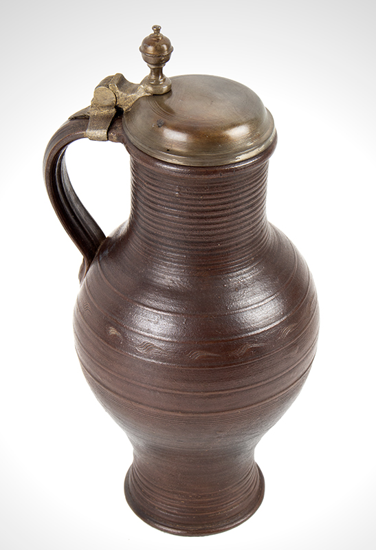 Antique  Stoneware, Brown, Salt Glazed Jug, Pewter Mounted Dreihausen, Germany, circa 1750 view 3