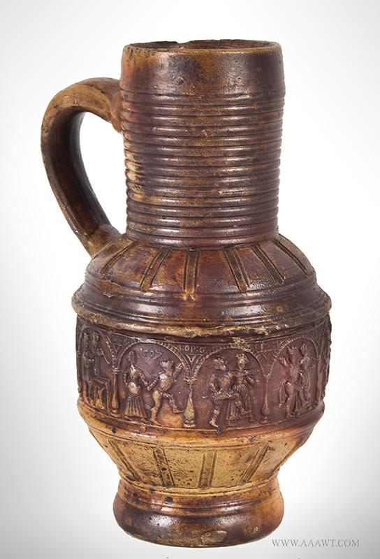 Raeren Peasant Dance Salt Glazed Jug, A.K.A. Krug Mit Bauerntanz, Dated 1597, entire view