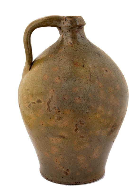 Antique Redware Jug, Western New York Unknown maker, 1840's (Height: 10'') A nicely potted ovoid form, mottled green glaze, fine condition, entire view 1