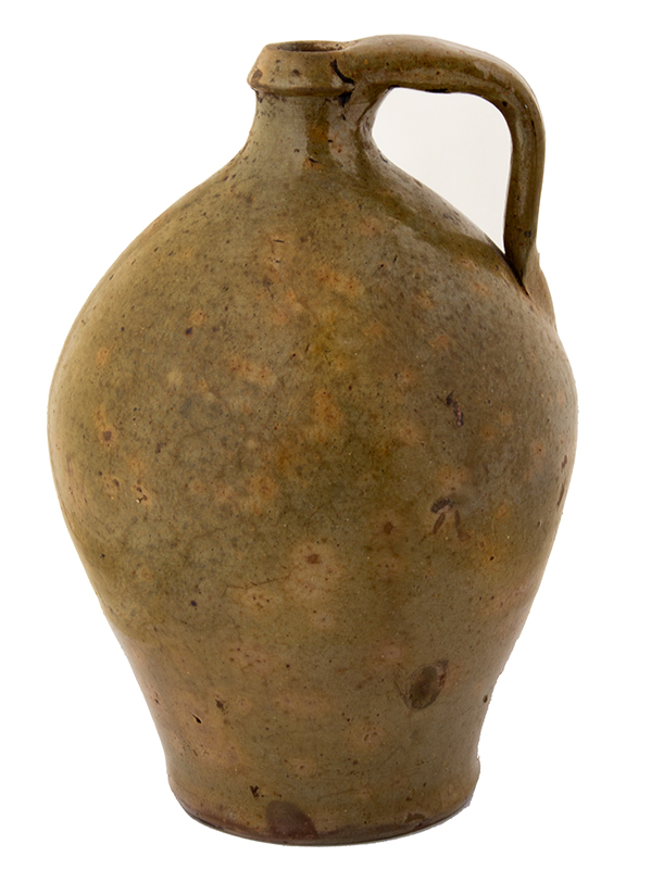 Antique Redware Jug, Western New York Unknown maker, 1840's (Height: 10'') A nicely potted ovoid form, mottled green glaze, fine condition, entire view 2