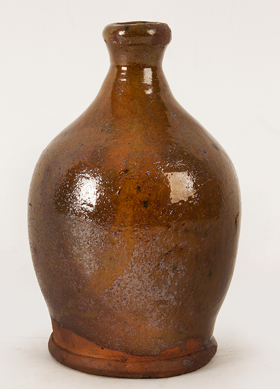 Antique Redware Jug, Smalls Size, Tall Neck, Tooled Spout & Foot Possibly Vermont, Circa 1800-1840, entire view 2